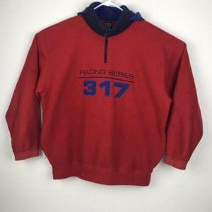 Vintage 90's Gap 317 Racing Series Hooded Fleece
